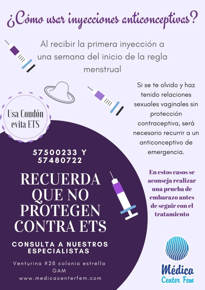 como usar inyecciones anticonceptivas