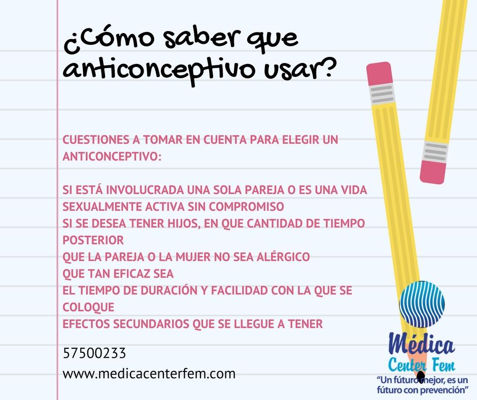 ¿como saber que anticonceptivo usar?