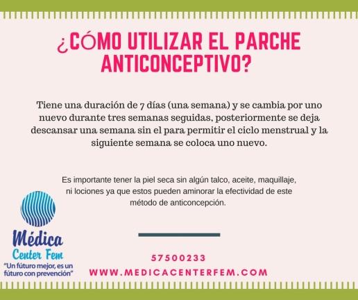 ¿como utilizar el parche anticonceptivo?